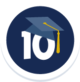 UC Davis is Ranked 10th Nationally Among Public Universities - Badge with a number 10 and a grad cap